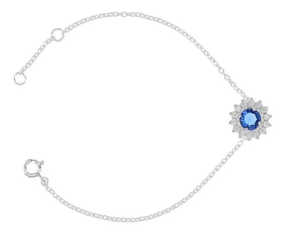 Pulseira Redonda Com Zircônia Azul De Prata Rodinada
