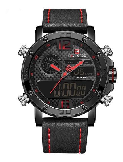 Relógio Naviforce 9134 Esportivo Digital Pulseira Couro