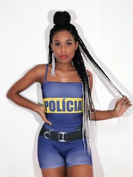 Fantasia Macacão Policial Policia Carnaval Com Tiara Quepe