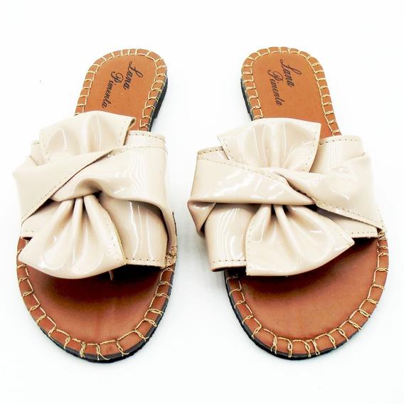 Sandália Feminina Chinelo Conforto Lp110 Laço Verniz Bege