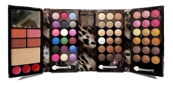 Petaca De Sombras X54 Colores +4 Rubores + Polvo Compacto