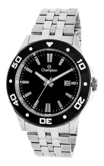 Relógio Champion Masculino Prateado Ca31408t Fundo Preto