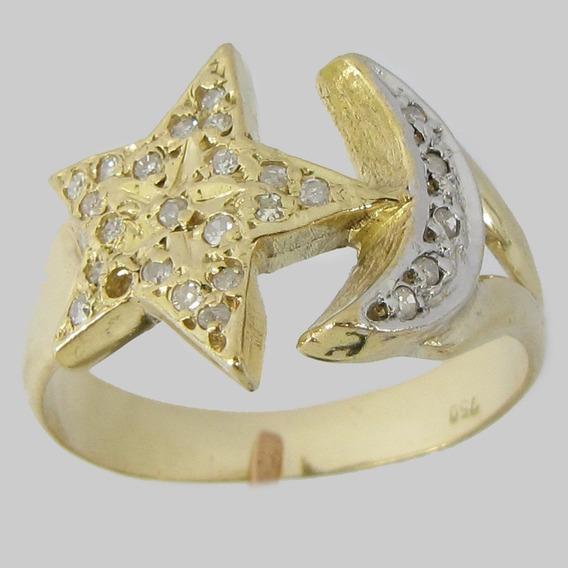 4357 Anel Estrela E Lua De Ouro 18k 750