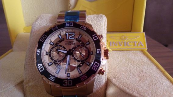 Relógio Invicta Multifunção Dourado - Original Na Caixa
