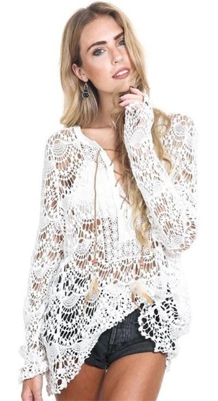 Salida De Playa Vestido Mujer Ajustable Ropa Crochet Pareo Cover Up Sexy Fashion