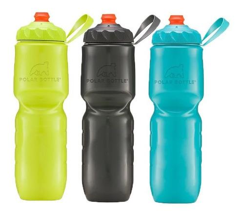 Kit 3 Caramanholas Polar Bottle Charcoal + Kiwi + Acqua