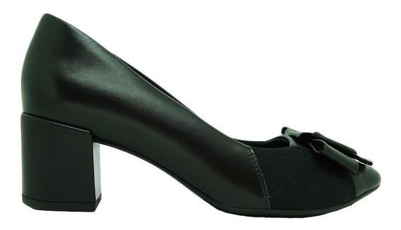 Sapato Usaflex Ad1606 Couro Liso Salto Joanete Conforto