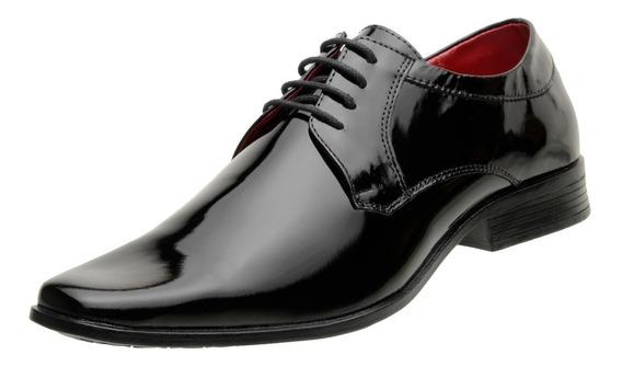 Sapato Verniz Masculino Social Sintético Preto - 4710a24