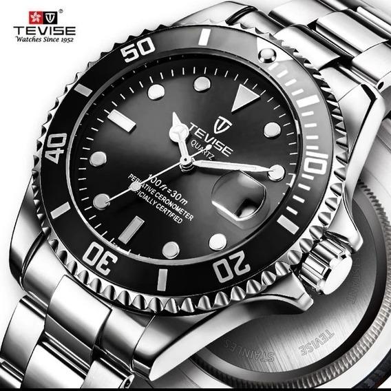Relógio Masculino Tevise Original Aço Barato Quartzo E.24