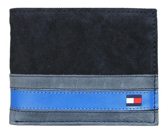 Billetera Marca Tommy Hilfiger Para Caballero Azul Con Gris