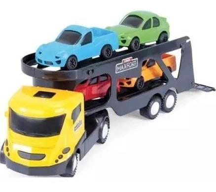 Brinquedo Caminhão Cegonha + 4 Carrinhos Max-fort Homeplay