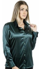 Camisa Social Plus Size Verde Cetim C/ Elastano Camisete