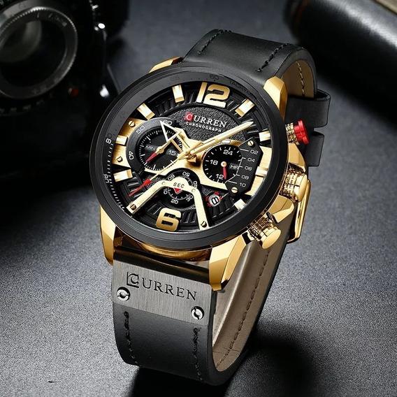 Relógio Curren 8329 Modelo De Luxo Preto Com Dourado