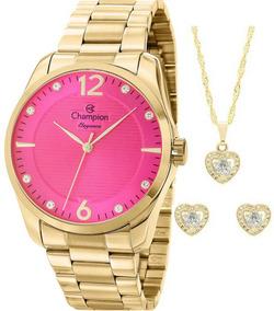 Relógio Champion Feminino Dourado Cn27607j + Kit