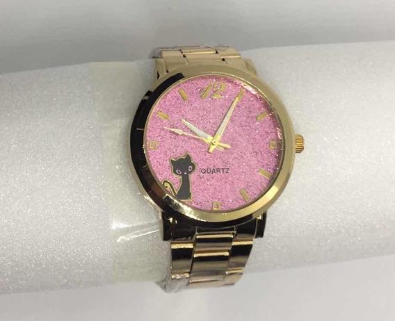 Relógio Feminino Dourado Caixa Rosa Gatinho