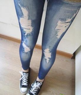 Legging Diseños Coreano Jeans Negro Azul Café