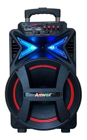 Caixa Som Amplificada Portátil Rodinhas Bluetooth Tws Amvox
