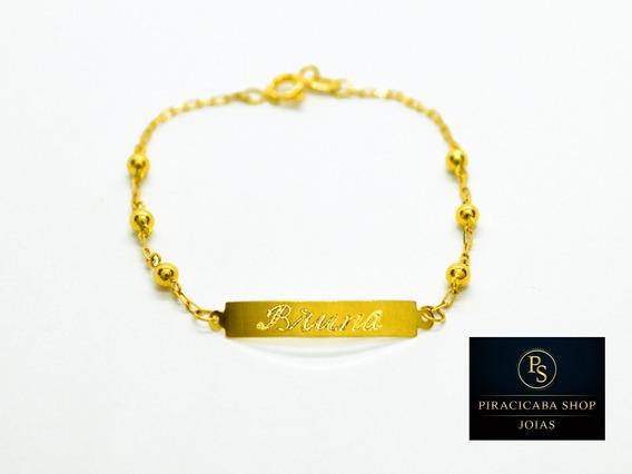 Pulseira Ouro 18k Bebe Chapinha Com Bolinha 2,5 Mm