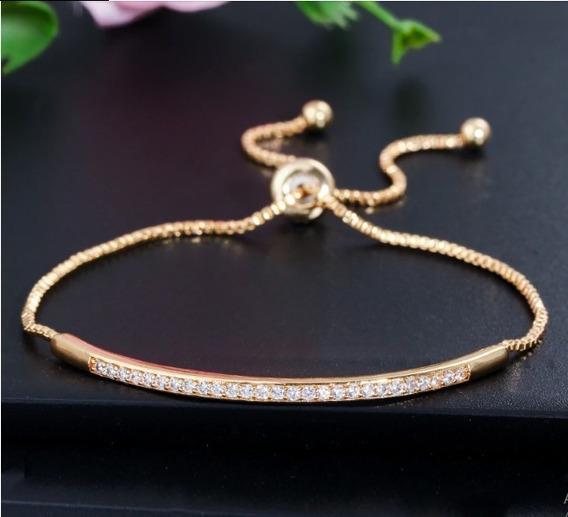 Pulseira Dourada Filigramada Com Strass Luxo Fashion Linda