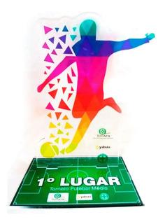 Kit 3 Troféus Em Acrílico - Campeão/vice E 3º Lugar (15x10)