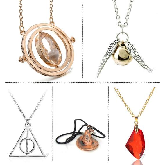 Big Kit - Colar Vira Tempo Hermione + 4 Colares Harry Potter