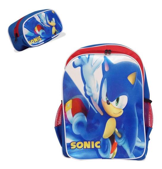 Mochila Costas Infantil Sonic + Estojo De Brinde!!