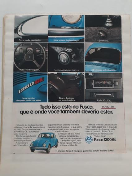 Propaganda Antiga Publicidade Vw Fusca 1300 Gl Anúncio 1981