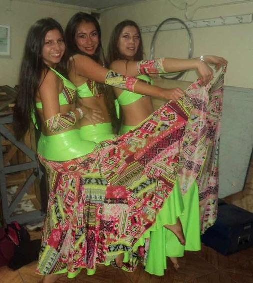 Traje Danza Arabe Verde Fluor