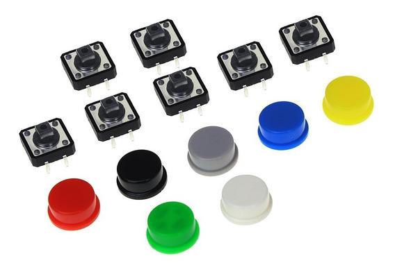 Kit 20 Chaves Táctil Push Button Botão 12x12x7.5 Mm Arduino