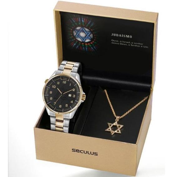 Relógio Seculus Masculino Ref: 23685gpskba2 Bicolor Judaísmo