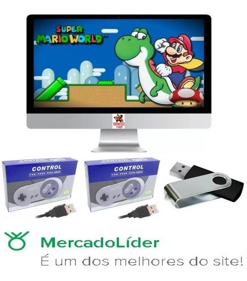 Super Nintendo Portátil 2200 Jogos + 2 Controles E Brinde