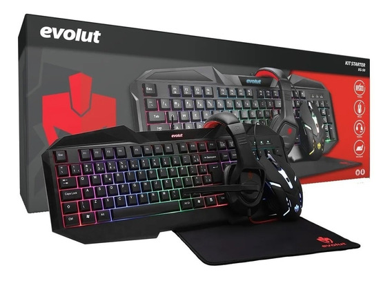 Kit Gamer Starter Mouse Teclado Headset Mousepad Eg50 Evolut