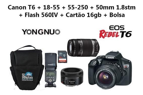 Camera T6 Premium Canon+50mm 1.8 Stm+yn560 Iv+16gb+bolsa