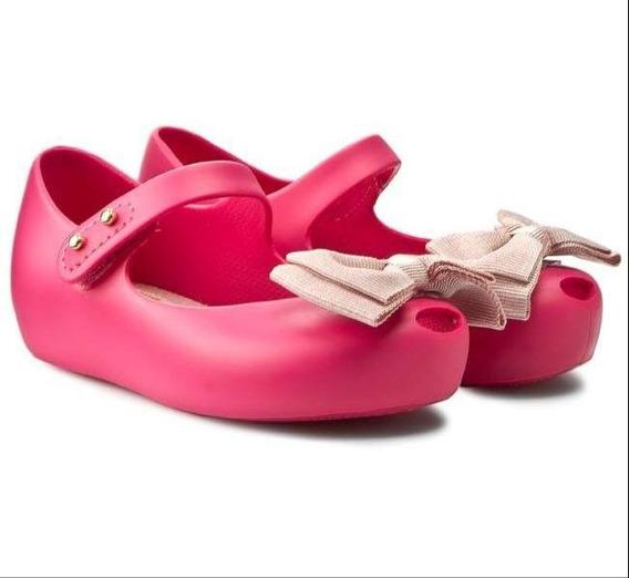 Zapatos Mini Melissa Original Niña Rosa Fresa Moño 12 Al 17