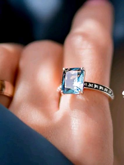 Anel Prata 925 Pedra Azul