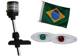 Kit Mastro De Popa 12v + Olho De Tubarão Led + Bandeira