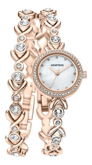 Armitron Reloj Y Pulsera Con Cristales Swarovski Original