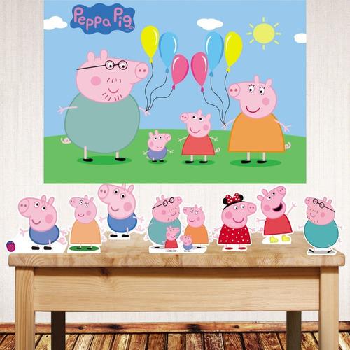 Kit Displays De Mesa + Painel De Festa Peppa Pig