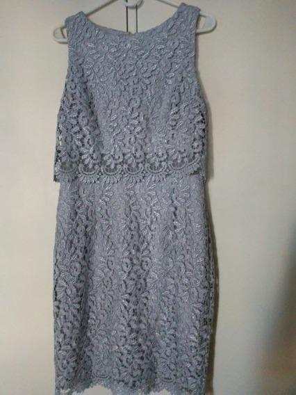 Vestido De Mujer De Encaje Gris Plateado Importado De Usa
