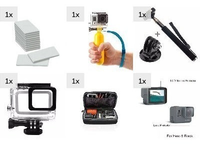 Kit Gopro Black Antifog Estanque Maleta Pau De Selfie Boia