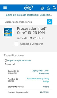 Procesador Notebook Core I3-2310