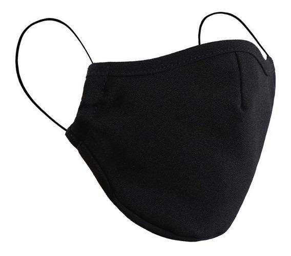 Facebug Cubrebocas Tela Moda Color Negro Tricapa Lavable