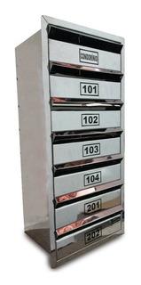Caixa Correio Inox P/ Condominio - Para 8 Aptos - 80x30x23cm