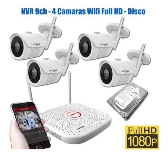 Kit 4 Camaras Seguridad Wifi Full Hd Exterior Disco Fuentes