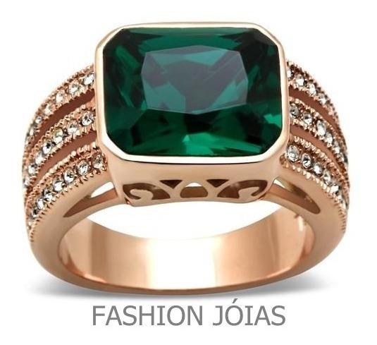 Anel Verde Esmeralda Folheado A Ouro Rosê Formatura Luxo