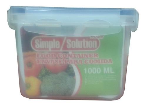 Envase Plástico Para Alimentos Cierre Hermético 1 Ltr 2 Uds