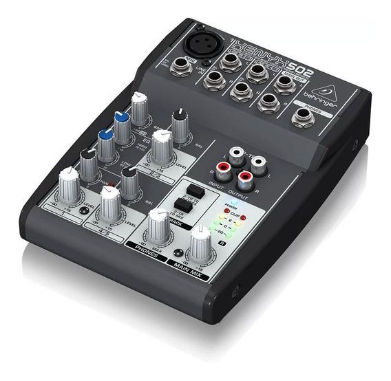 Mesa De Som Analógica Behringer Compacta De 5 Canais Xenyx 502 Para Performances E Gravação