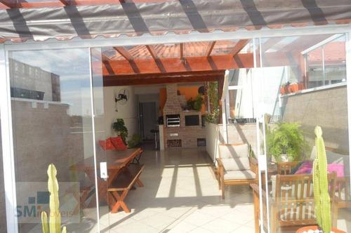 Cobertura Com 2 Dormitórios À Venda, 140 M² Por R$ 562.000,00 - Vila Pires - Santo André/sp - Co0162