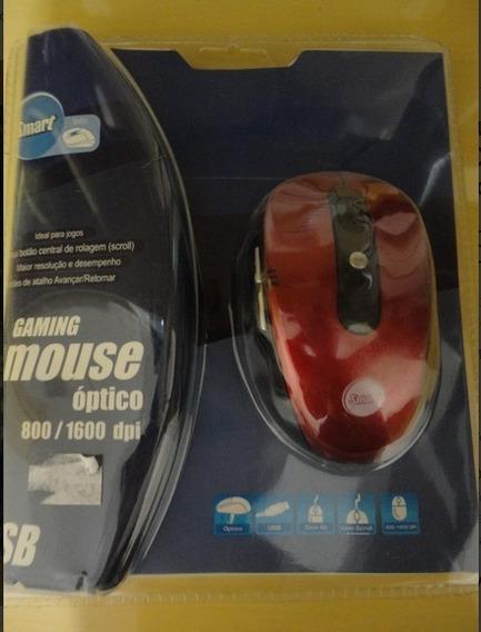Mouse Otico Óptico 800/1600 Dpi Usb Scroll Gaming Novo