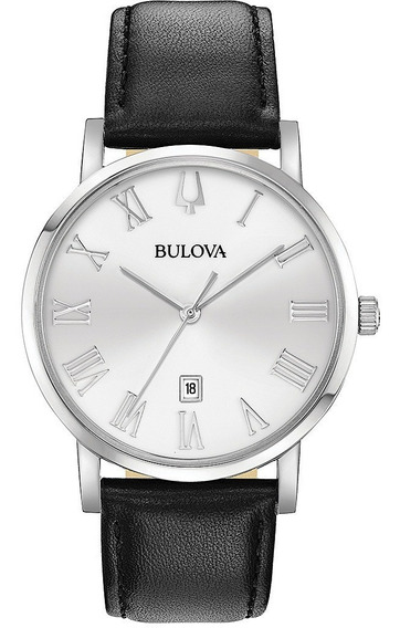 Relógio Bulova Masculino Slim 96b312 Aço Couro Preto